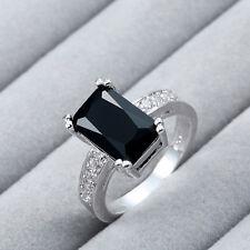 Charming Women 925 Silver Black Onyx Wedding Ring Engagement Jewelry Size 5