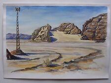 ORIGINAL WATERCOLOR PAINTING SINAI EGYPT LANDSCAPE ART BY UKRAINE ARTIST