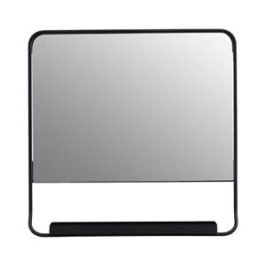 Chic Black Square Mirror With Small Shelf by House Doctor