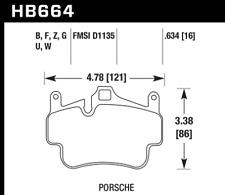 Hawk Disc Brake Pad Rear / Front for Porsche Boxster, Cayman / HB664G.634