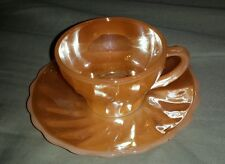 Anchor Hocking Fire King Oven Proof #9 Orange Carnival Glass Tea Cup and Saucer