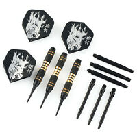 3Stück schwarz Coated Solid Brass Barrel Plastik Soft Tip Dart with Flights Z2F7