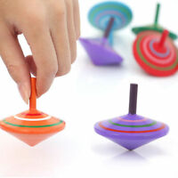 2PCS Wooden Gyro Spinning Top Peg-Top Funny Kids Gift Educational Toy Multicolor