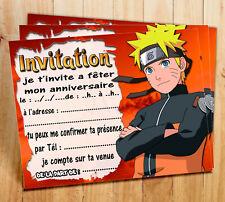 Cartes invitation anniversaire  NARUTO  par  4 ou 12