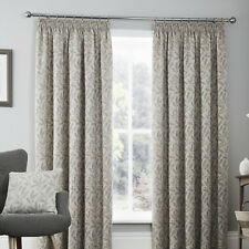 Curtina Valda Floral Print Pencil Pleat Lined Curtains Graphite 66 X 90 Inch