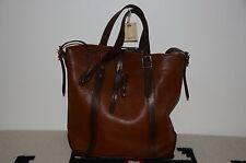 Ralph Lauren RRL Distressed 2-Tone Brown Leather Shoulder Tote Bag