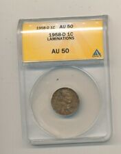 1958-D LINCOLN WHEAT CENT ANACS AU50 - LAMINATIONS! NICE ERROR COIN! -AA472UQXX