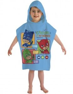 Official PJ Masks Calling All Heroes Character 100% Cotton Hooded Towel Poncho
