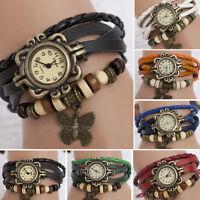 Retro Weave Around PU Leather Bracelet Watch Fashion Woman Quartz Wrist Watch PJ