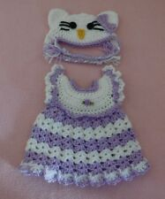 Wellie Wishers Clothes Purple Hello Kitty Dress & Hat Fits American Girl 14.5""