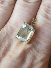Natural 6cts emerald octagon cut aquamarine solid 9ct yellow gold pendant