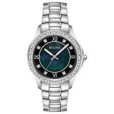 Bulova 96L266 Women's Black Dial Crystal Wristwatch