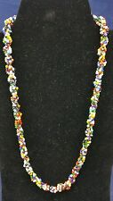 """Vintage Single Strand 22"""" Multicoloured Beaded Necklace With Hook & loop Clasp"""