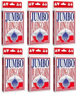 6 x Jumbo Playing Cards Large Decks Premium Deck of Card Games - Plastic Coated