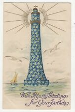 Birthday Greetings 1908 Embossed Postcard Lighthouse Wildt & Kray 882b