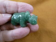 (Y-Rhi-578) green Aventurine Rhino rhinoceros gemstone Figurine carving rhinos
