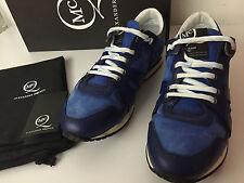$555 McQ Alexander Mcqueen Women's Blue Leather Low Top Running Sneakers US8/38