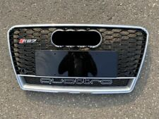 Black and Chrome Frame RS-Honeycomb MESH Bumper Grill Grille Guard W//Emblem Base VXMOTOR for 12-14 Audi A7//S7