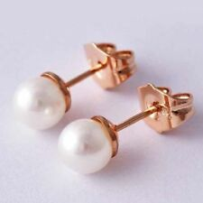Beautiful New Rose Gold Filled Bright White 6mm Pearl Stud Post Earrings
