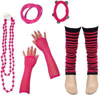 80's Neon UV Leg Warmers Gem Beads Hen Dance Fancy Dress Party Costumes For Tutu