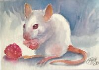 ACEO Original Painting Mouse Raspberries Art Listed By Artist Card Collectible