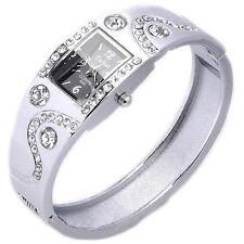 Silver Rhinestone Crystal Alloy Bangle Stainless Steel Bracelet Wrist Watch