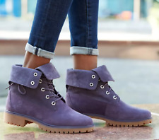 Timberland Jayne Fold Down Boots (Women Size 6.5) Purple Roll Top A1XC2