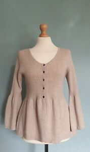 Woolovers Cashmere/Merion Beige Button Down Cardigan With Bell Shaped Sleeves L