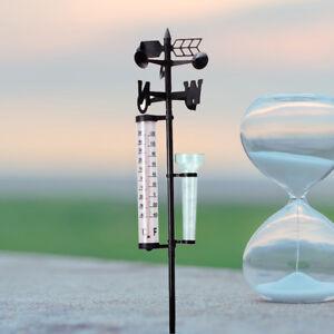 3 IN 1 Outdoor Garden Rain Gauge Measurement Thermometer Wind Direction Meter AU