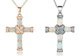 Sevil Created Opal Cross Pendant Necklace Plated In 18K Rose Gold or White Gold