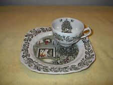 Johnson Bros. Brothers MERRY CHRISTMAS Snack Plate & Tea Cup Set England # 3