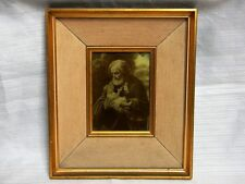 ANTIQUE RELIGIOUS PORTRAIT DOUBLE FRAME ST JOSEPH PRINTED ON GLASS