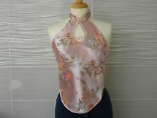 Pink Lady Satin Halter Neck Top Embroidered Backless Chinese Dragon Retro