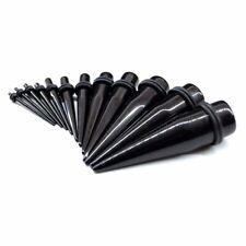 "1 Pair Black Acrylic Ear Plug Taper Double O-Ring Gauge Stretching Kit 14g - 1"""