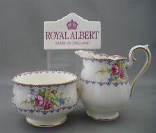 Nice Royal Albert England Petit Point Bone China Creamer & Open Sugar Bowl Set