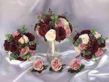 SILK CREAM DUSTY PINK BURGUNDY ROSE GREENERY WEDDING BRIDAL FLOWER BOUQUET