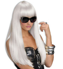 NEW 2' LONG  WHITE HOT LADY GAGA DISCO ANGEL FAIRY WIG HAIR COSPLAY LARP