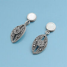 Marcasite Stud Earrings with MOP Sterling Silver 925 Vintage Style Jewelry Gift