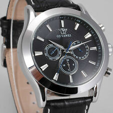 Black OUYAWEI Mens Analog Day Date 6 Hands Automatic Self Winding Leather Watch