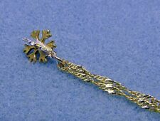 Two Tone Sterling Silver and Gold Vermeil Snowflake Necklace, Gold Filled Chain