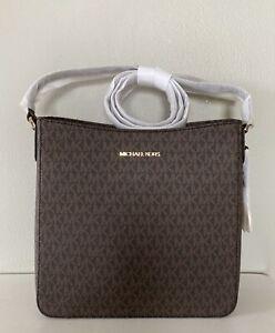 Michael Kors Jet Set Travel Brown PVC MK Signature Large Messenger Bag Handbag