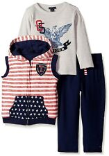 Tommy Hilfiger baby boy star & stripe vest tee and pants 3 piece set used