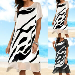 Women Print Shirt Dress Top Summer Cover Up Beach Chiffon Midi Dresses Plus Size