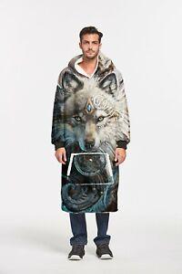 Wolf Warrior Printed Hoodie Oversized Blanket Sweatshirt Soft Warm Hooded Robe