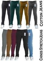Mens Chinos Trousers Skinny Stretch Pants Jeans Waist Casual Regular Designer