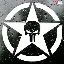 Punisher Army Star Car Window Laptop Wall Vinyl Graphic Decal Sticker White