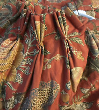 Custom Made Red Botanical Kaufmann Floral Pleated W/Liner 2-Drapes 84L x 97W