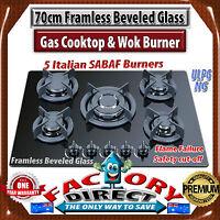 70cm Frameless Beveled Glass 5 Burner Gas Cooktop & Wok Burner Cast Iron Trivets