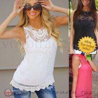 UK Fashion Women Summer Vest Top Sleeveless Blouse Casual Tank Tops T-Shirt Lace