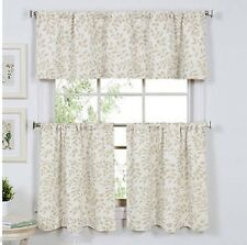 Serene Leaf Linen Kitchen Curtain 36L Tier and Valance Set